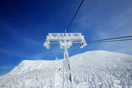 ski lift: Frost on ski lift,Yamagata Prefecture,Japan