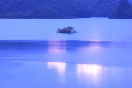 fukushima: Lake Akimoto in dusk,Kitashiobara village,Fukushima prefecture,Japan