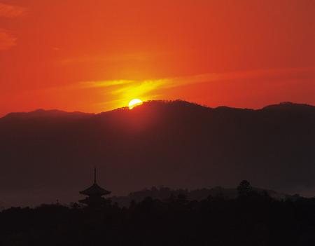honshu: Sunset at Horyuji Temple,Nara Prefecture,Honshu,Japan Stock Photo