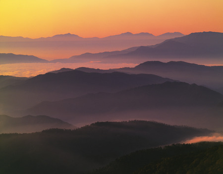 the mountain range: Sunrise over mountain range, Matsumoto, Nagano Prefecture, Japan Stock Photo