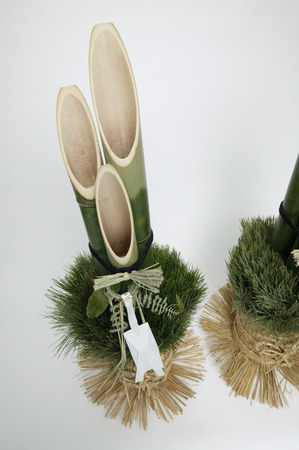 Kadomatsu, made from pine foliage and bamboo, for good luck in the new year photo