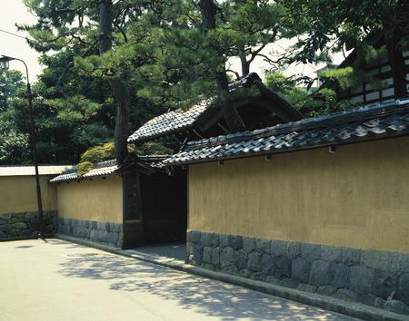 ishikawa: Wall and a Gate Outside a Japanese House. Kanazawa,Ishikawa Prefecture,Japan