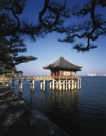 honshu: Ukimido Temple at Lake Biwa,Shiga Prefecture,Honshu,Japan