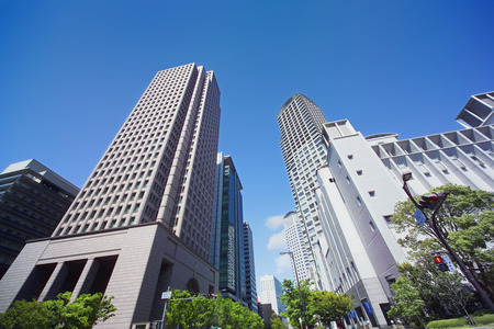 honshu: Office buildings at West Umeda,Osaka Prefecture,Honshu,Japan Stock Photo