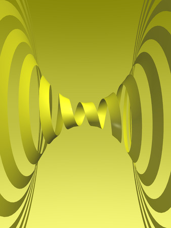digitally generated image: Digitally generated image depicting a yellow spiral