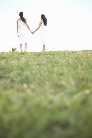 Sisters standing in field holding hands Stock Photo