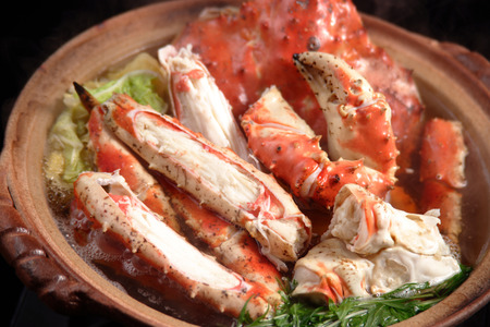 crab pot: Pot dish of king crab Stock Photo