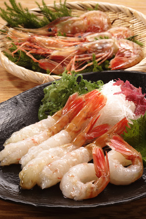 botan: Fresh slices of a botan shrimp Stock Photo