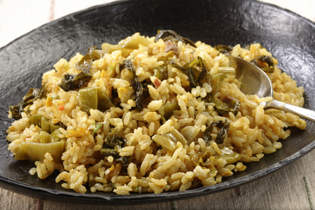 leaved: Broad leaved mustard fried rice Stock Photo