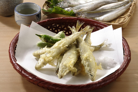 pond smelt: Tempura of a pond smelt Stock Photo