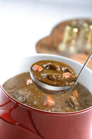 beef curry: Beef curry in a pot Stock Photo