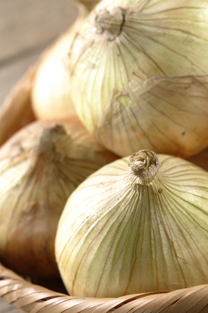 close up of onions in a basket: Close up of onions in a basket