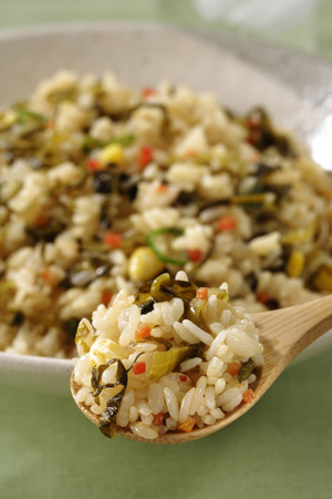 leaved: Close-up of broad leaved mustard fried pilaf Stock Photo