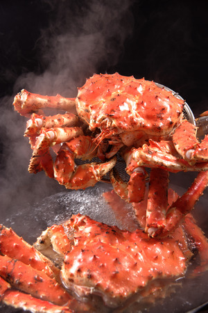 crab pot: King crab boiling in the pot