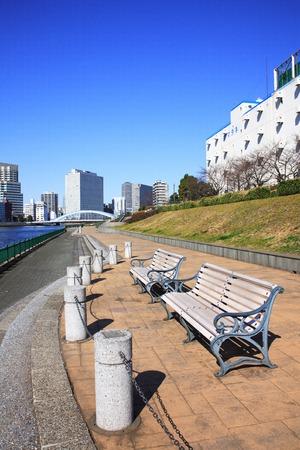 sumida: Benches along the Sumida River