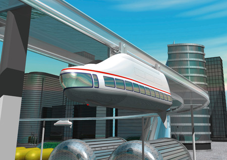 monorail: CG image of monorail Stock Photo