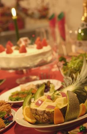Christmas party cut fruit platter photo