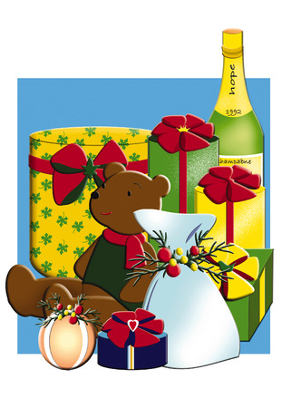 plural: Christmas present illustration Stock Photo