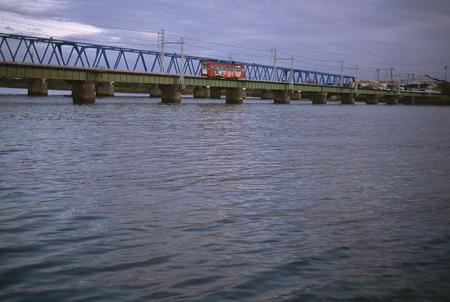 sho: Manyo line across the Shogawa River Stock Photo