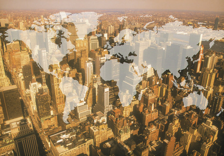 synthesis: Skyscraper image, CG synthesis Stock Photo