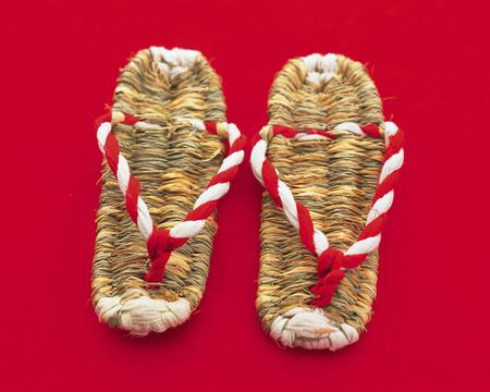 kohaku: Straw sandals Stock Photo