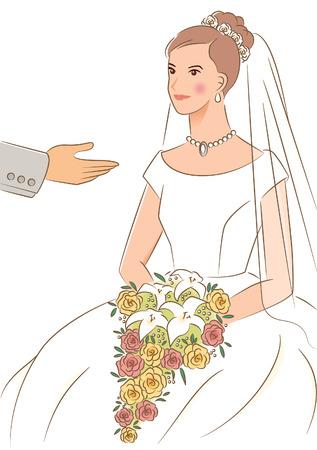 escorted: Bride being escorted