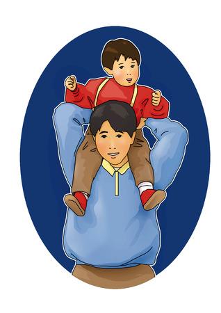 piggyback: Parent giving child a piggyback ride Stock Photo