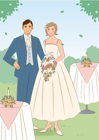 wedding table setting: Newlywed couple Stock Photo