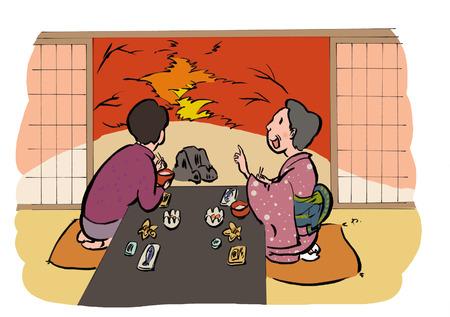 Momijigari illustration illustration