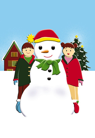 Snowman with two children illustration illustration