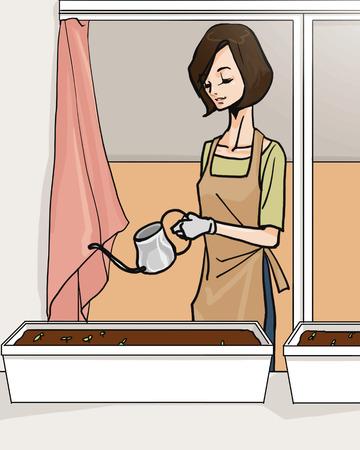 woman gardening: Woman gardening Stock Photo