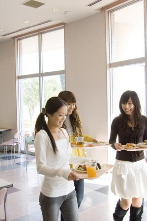 lunch tray: Asian college girls