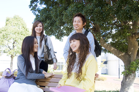 schoolmate: Asian college students Stock Photo