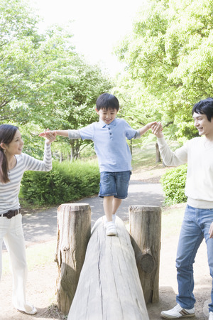 japanese family: Japanese family playing