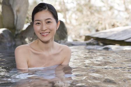 woman in bath: Asian woman in hot bath