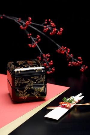 bento box: Japanese bento box and a pair of chopsticks Stock Photo