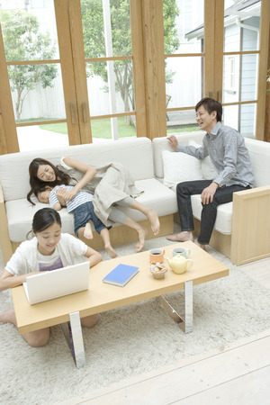 family  room: Family in living room