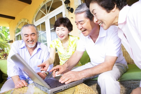 japanese people: Elderly person using a PC laptop