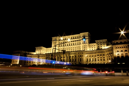 bucharest: Green light, photo taken in front of the Palace of the Parliament in Bucharest, Romania. Stock Photo
