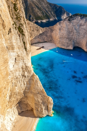View of the shipwreck on the beach Navagio in Zakynthos, Greece photo