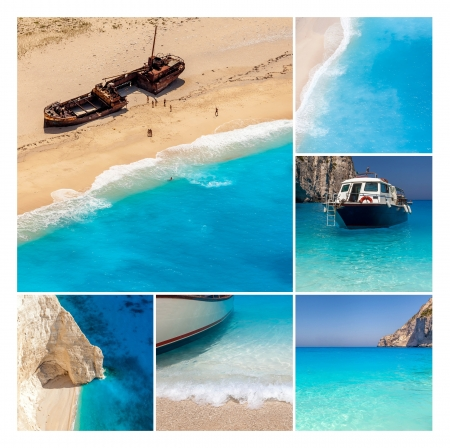 Navaggio Beach collage, Zakynthos Island, Greece photo