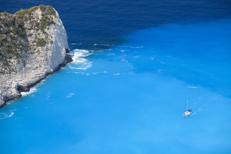 Blue lagoon, island paradise. Ionic Sea of Greece Zakynthos, popular touristic destination. photo