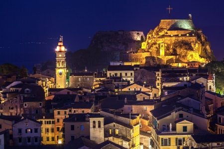 Panoramic view of the citylights of Corfu Town at night. Kerkyra. Greece, Corfu island photo