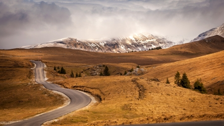 Curved asphalt road in high mountains of Romania, Transbucegi