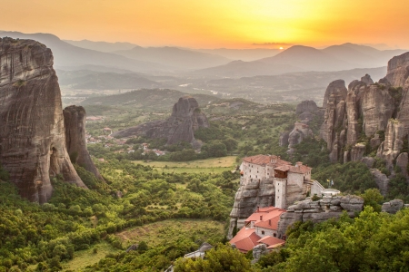 Meteora Roussanou Monastery at sunset, Greece photo