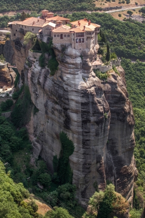 Monastery from Meteora-Greece, beautiful landscape with tall rocks with buildings on them. photo