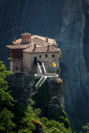 Roussanou monastery at Meteora, Greece photo