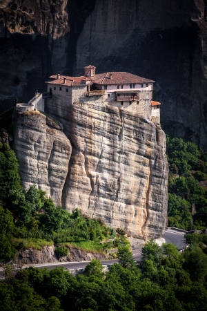 Meteora Roussanou Monastery on rock, Greece photo