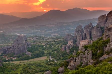Sunset light over Meteora Monasteries, Greece Reklamní fotografie
