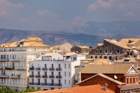 kerkyra: View from castle to Corfu-Town  Kerkyra in Greece Stock Photo